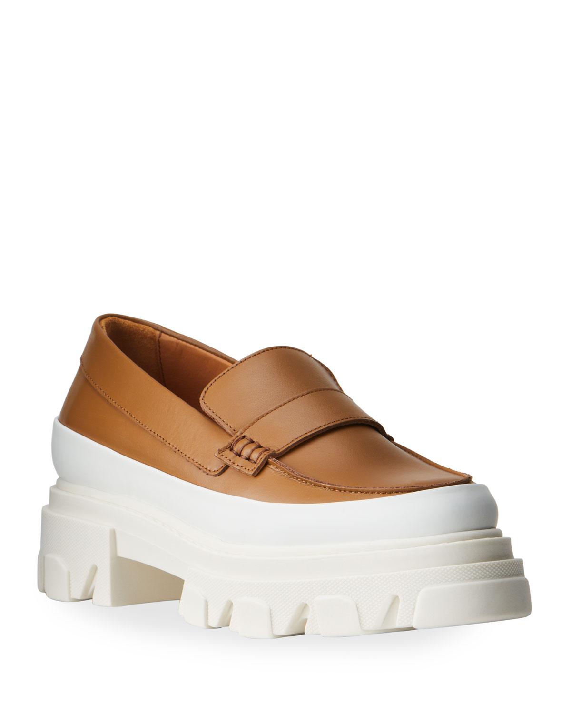 Classic Calfskin Chunky-Heel Penny Loafers