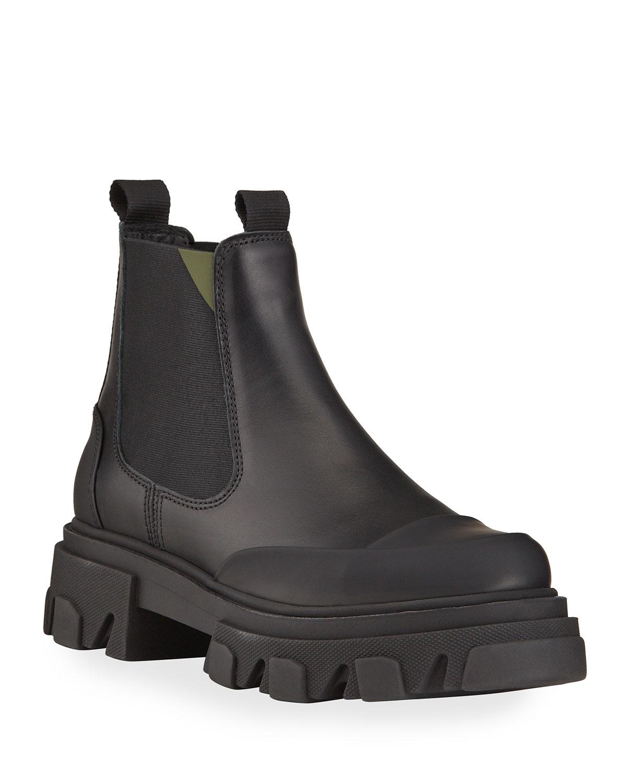 Leather Lug-Sole Chelsea Booties