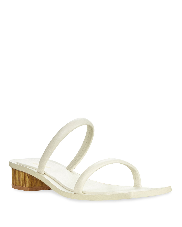 Liz Leather Bamboo-Heel Slide Sandals