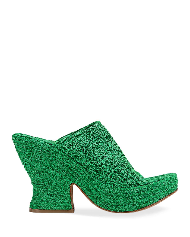 Wedge Knit Slide Wedge Platform Sandals