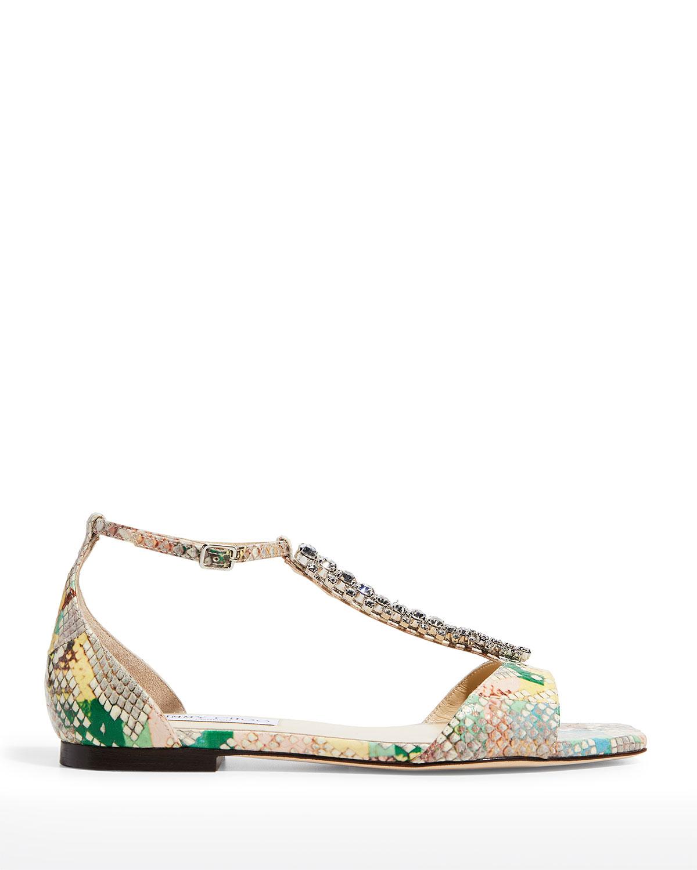 Bella Snakeskin Crystal-Trim T-Strap Sandals