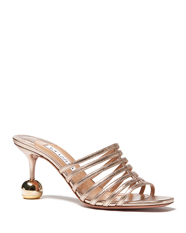 Le Parisien 75mm Metallic Slide Sandals