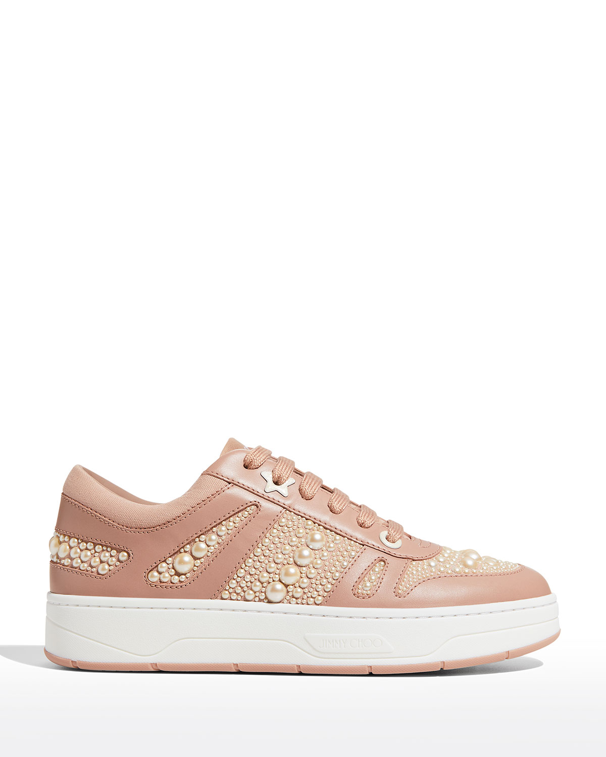 Hawaii Pearly Leather Flatform Sneakers