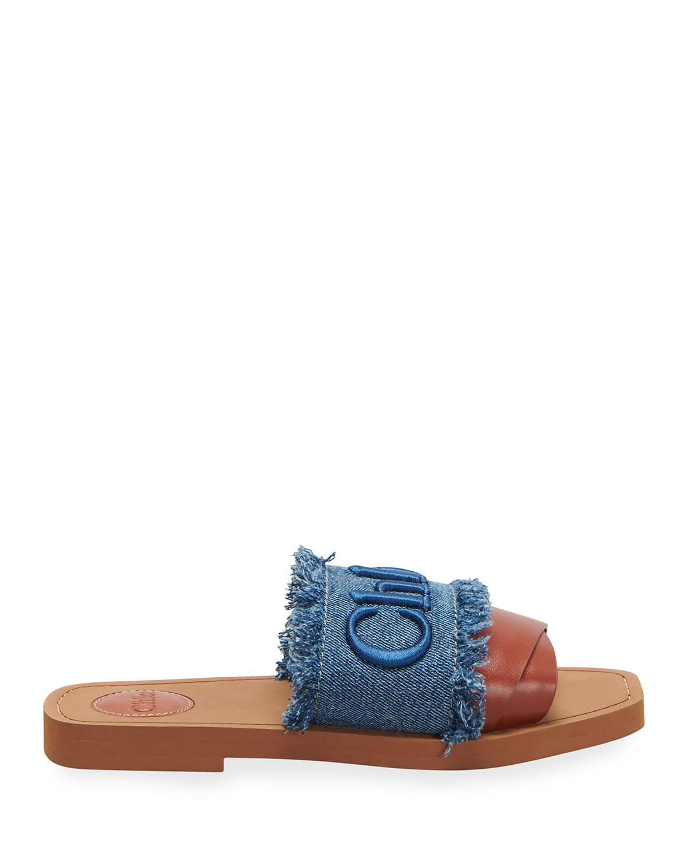 Woody Logo Flat Denim Sandals