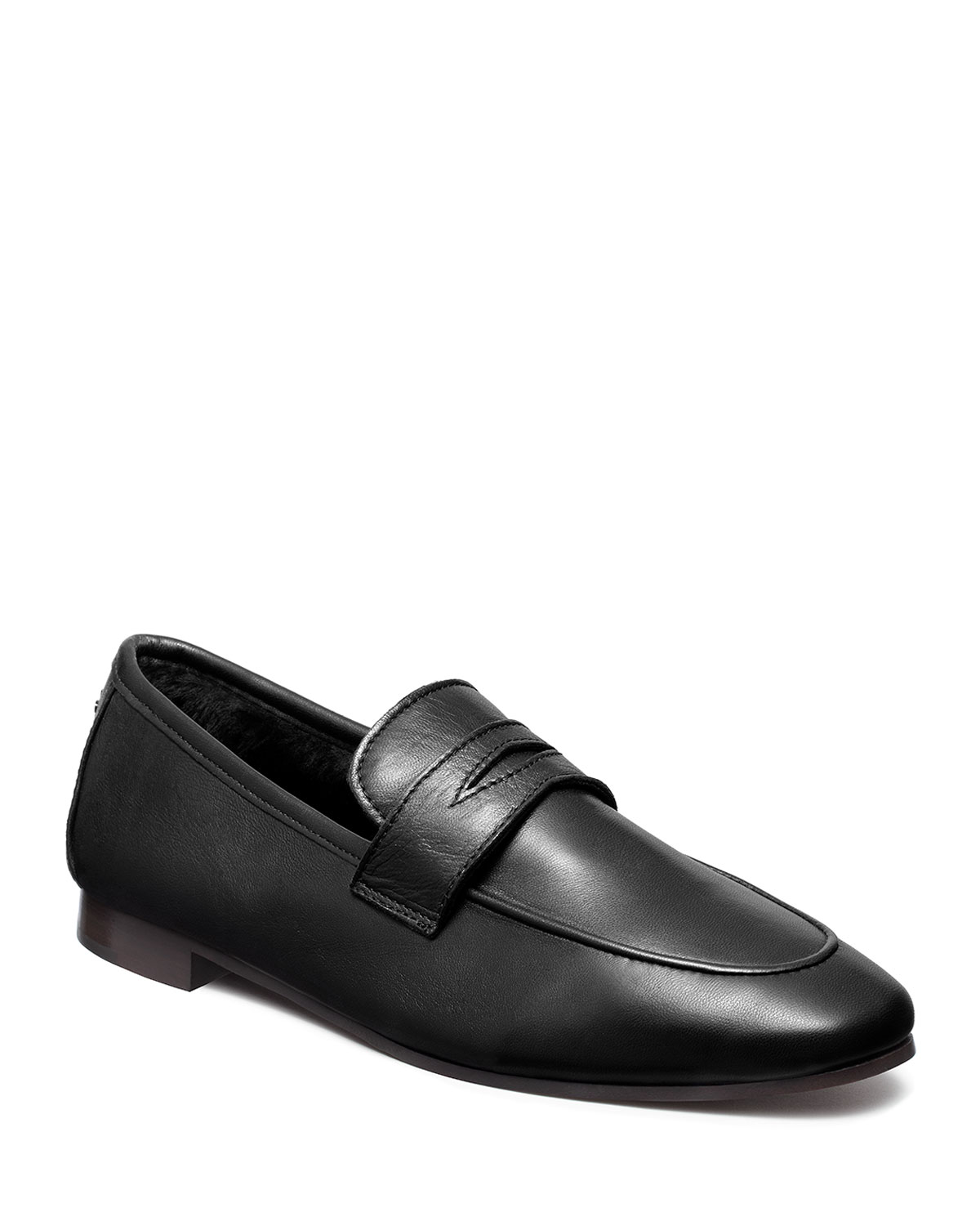 Leather Penny Loafers w/ Shearling Trim