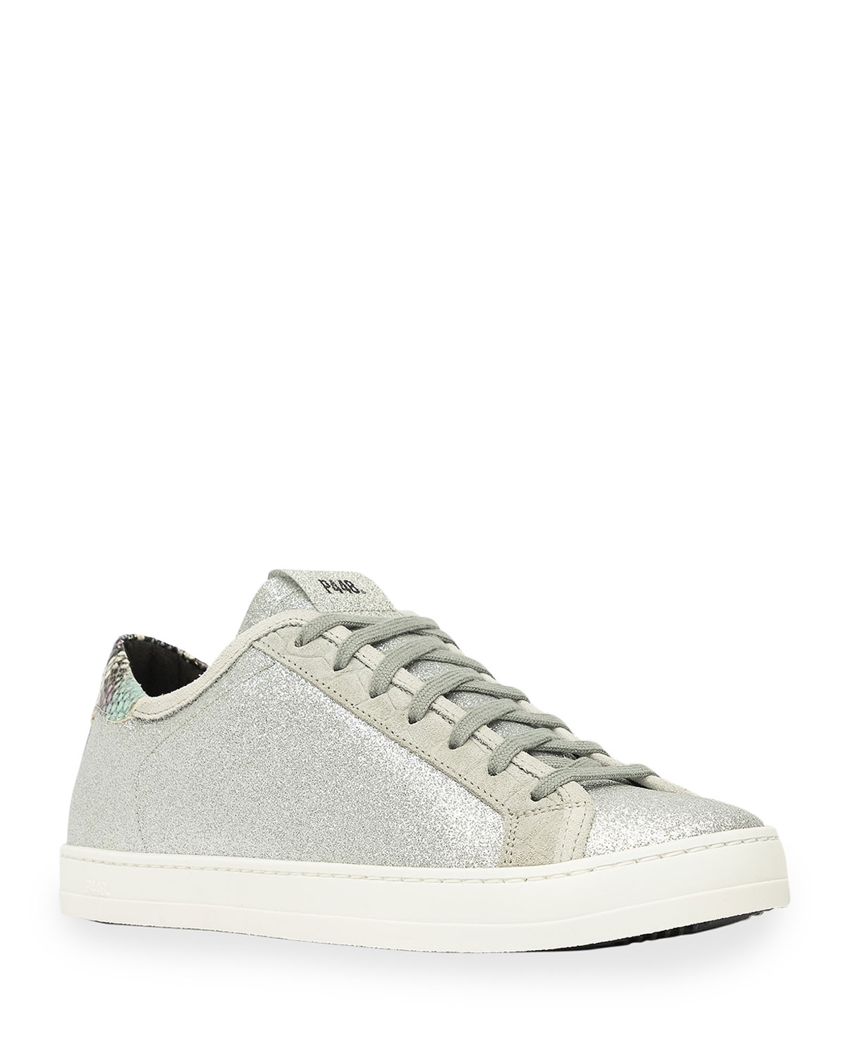 P448 JOHNNY GLITTER LEATHER LOW-TOP SNEAKERS
