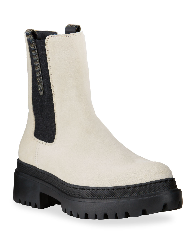 Leather Monili Lug-Sole Chelsea Booties