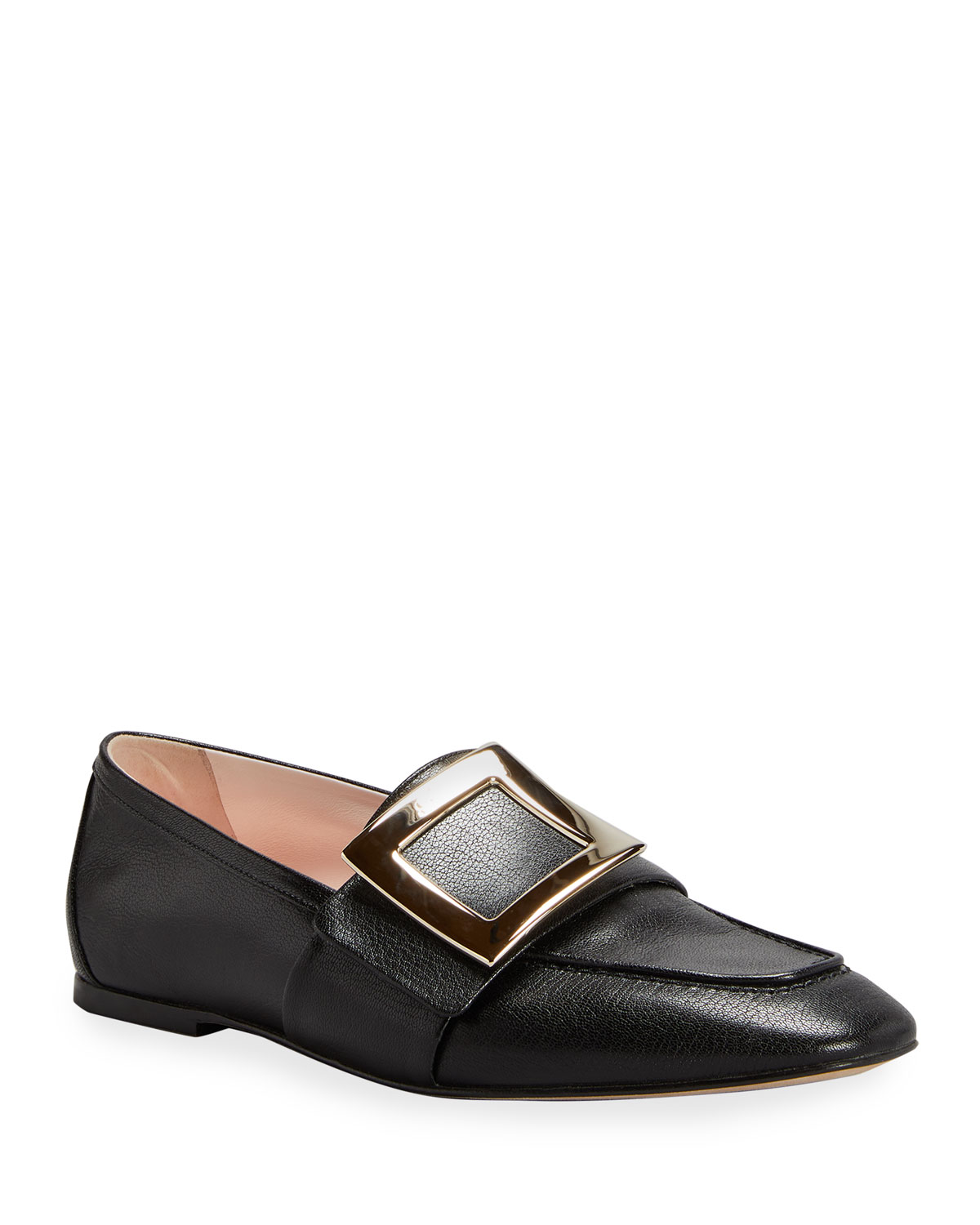 10mm Leather Buckle Flat Loafers