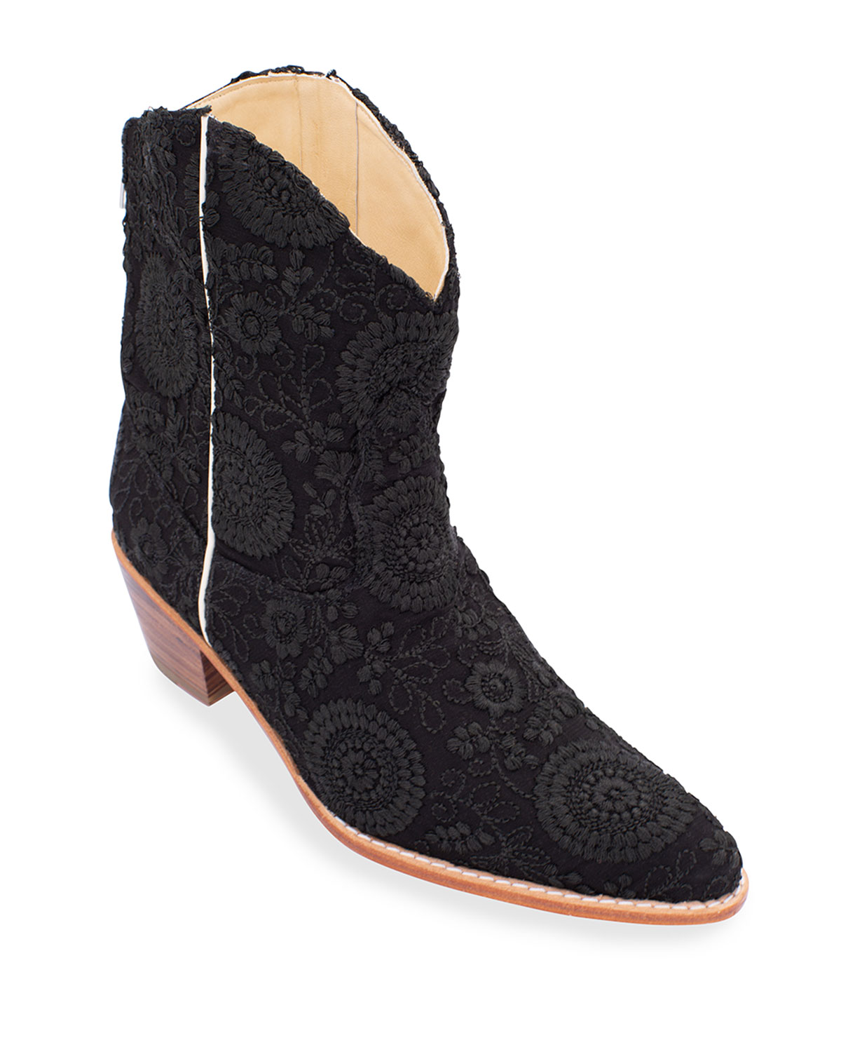 Embroidered Silk Short Western Booties, Black