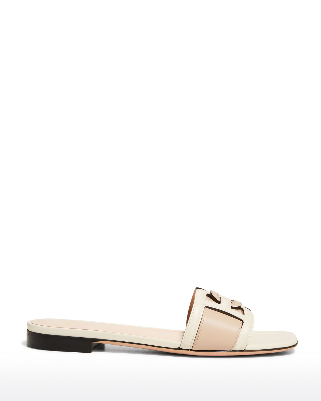 Peoni Bicolor B Chain Flat Sandals