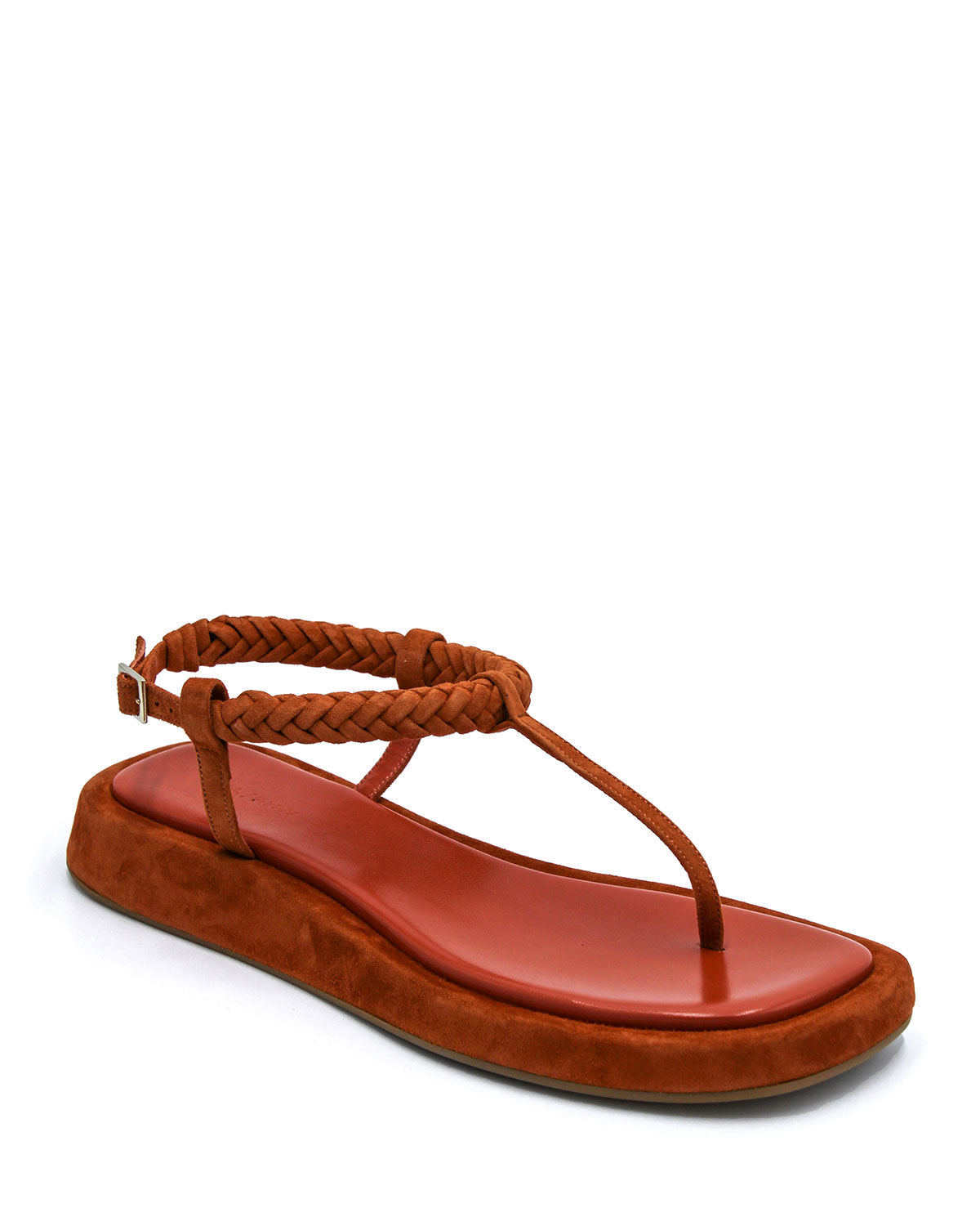 Braided Suede Thong Slingback Sandals