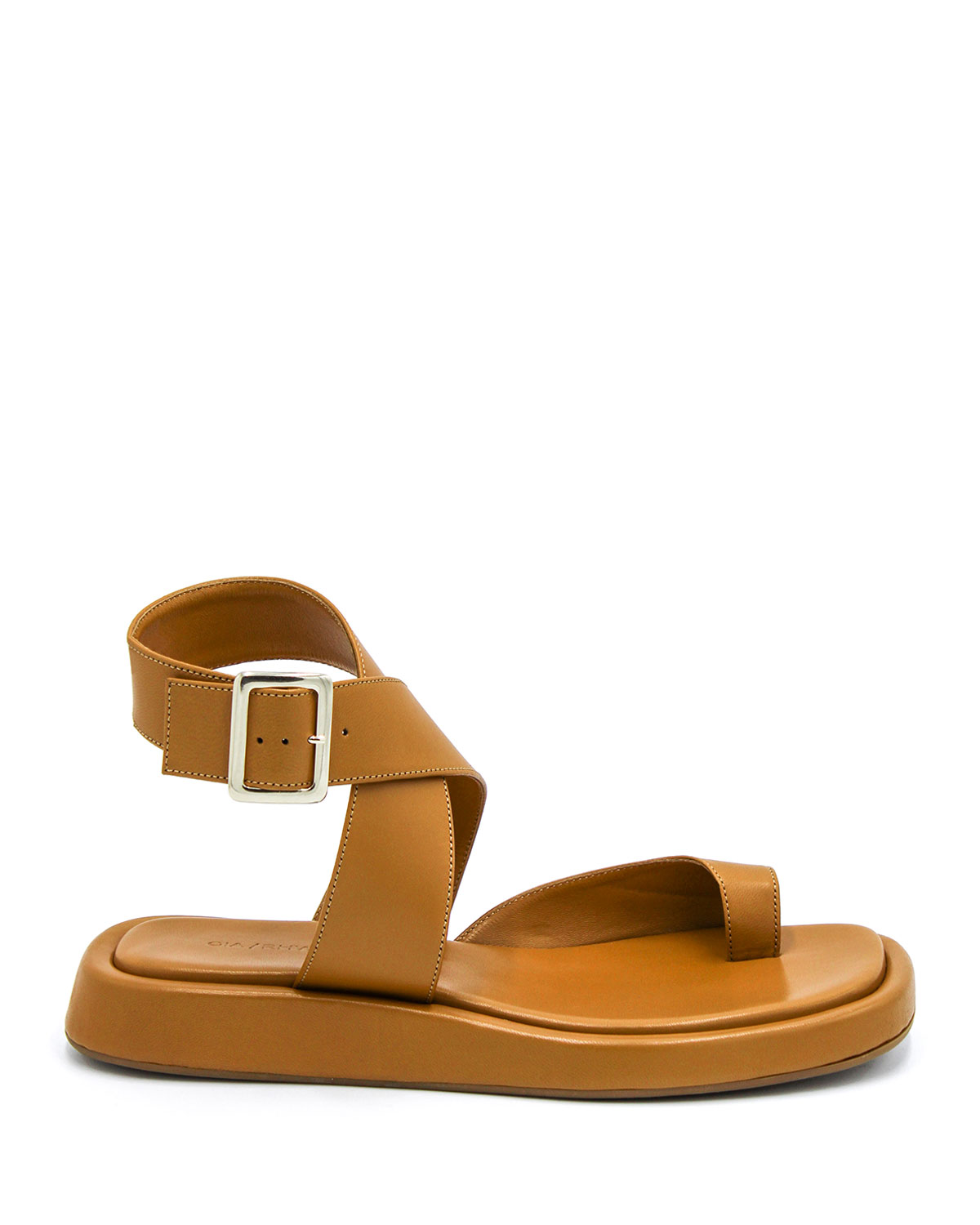 Suede Toe-Ring Flat Sporty Sandals