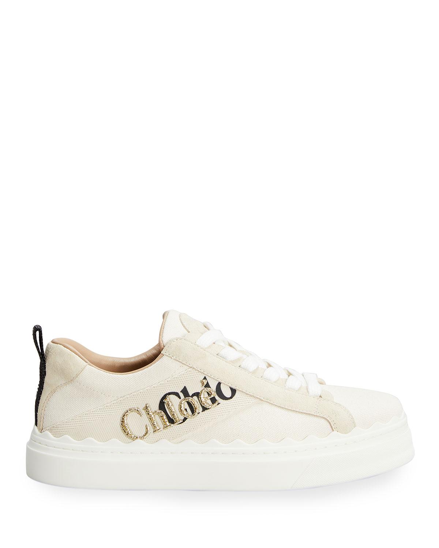 Lauren Low-Top Embroidered Canvas Sneakers