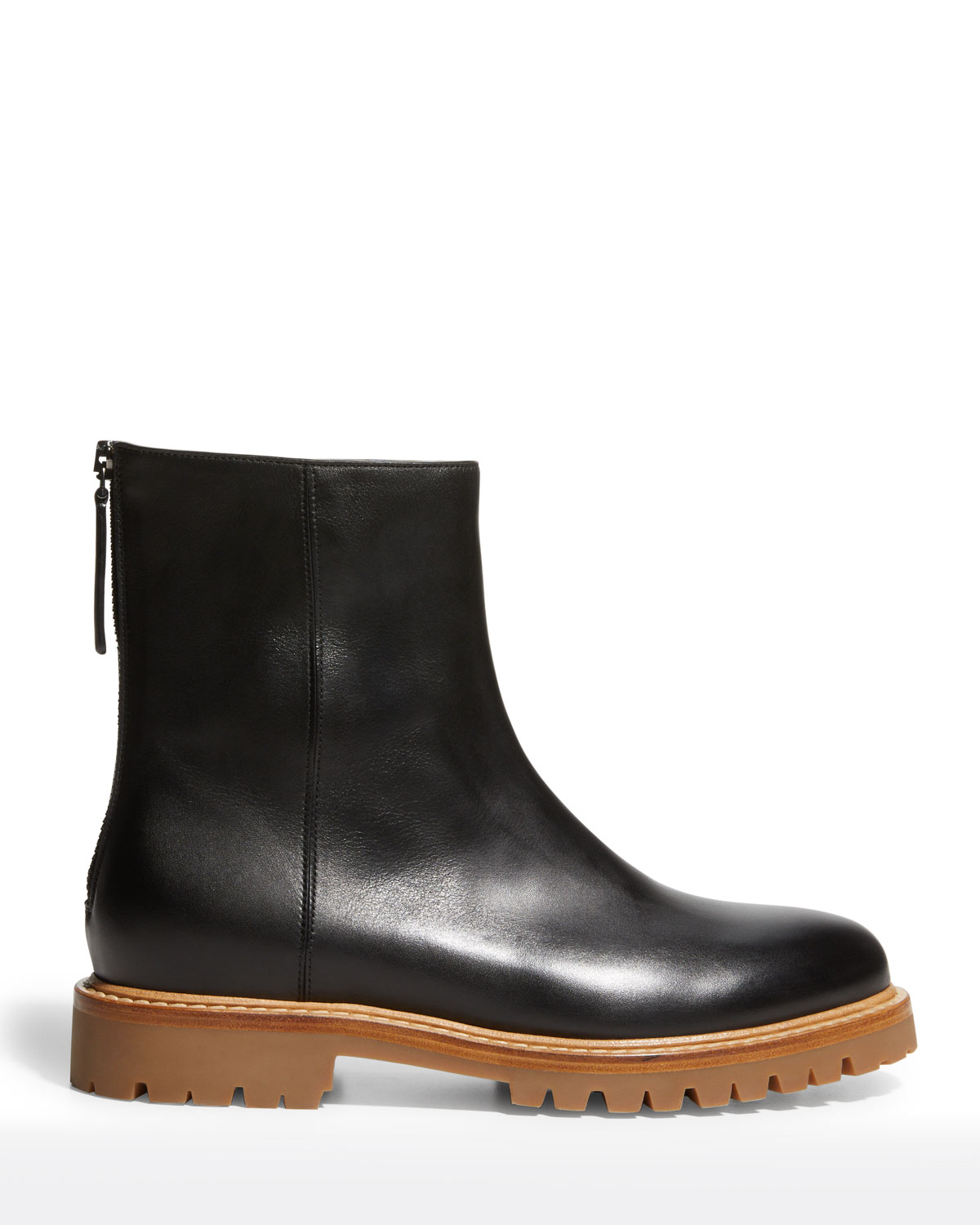New Officer Leather Short Zip Boots