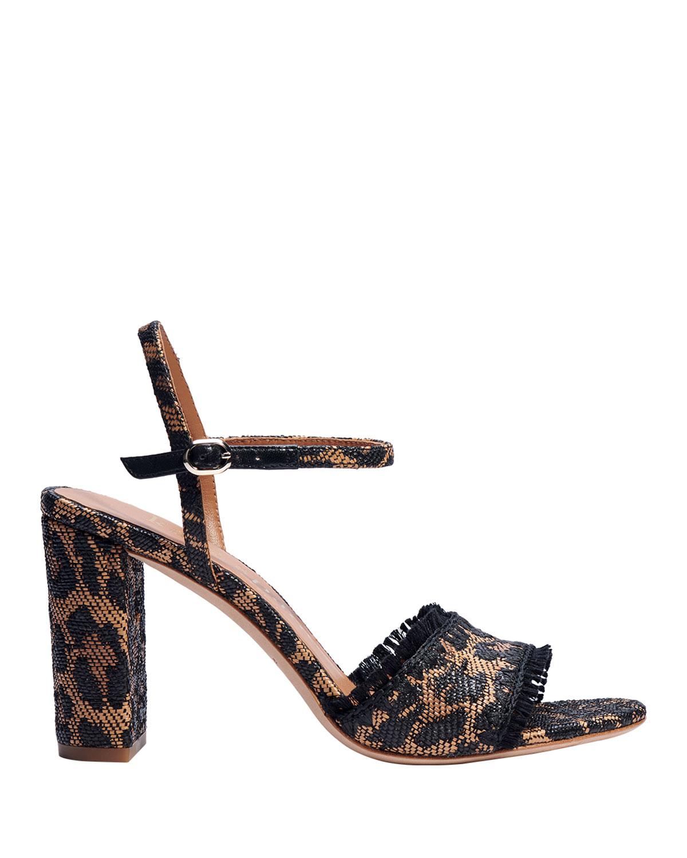 olivia leopard-print raffia ankle-strap sandals