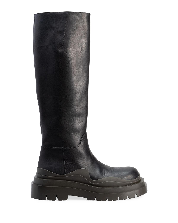 The Tire Calfskin Knee Boots