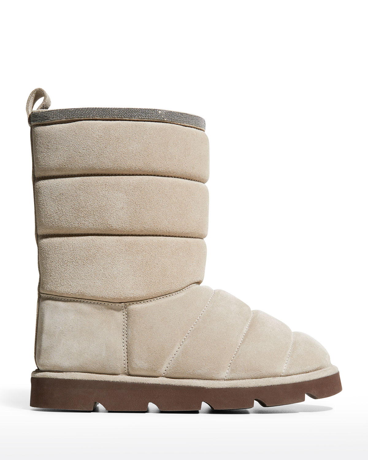 Quilted Suede Pull-On Booties