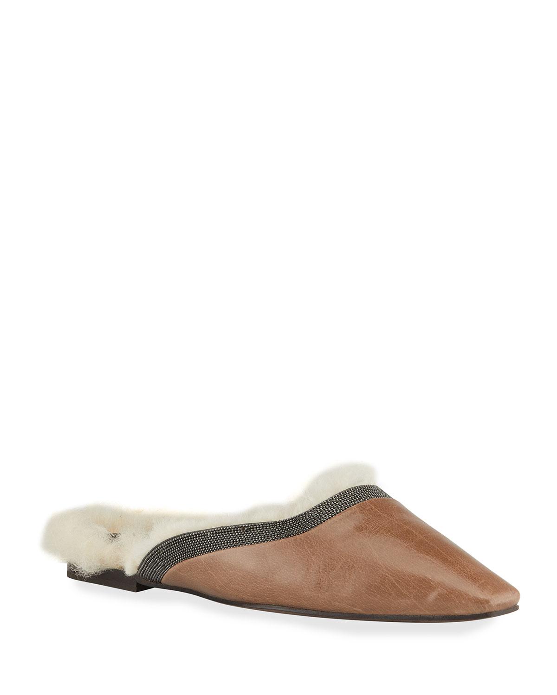 Leather Shearling Monili-Collar Flat Mules