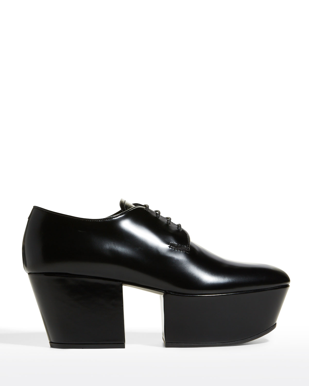 Leather Lace-Up Platform Loafers