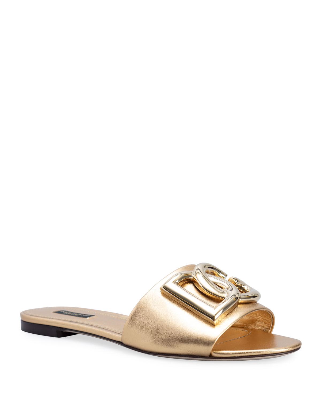 Bianca DG Logo Metallic Flat Sandals