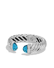David Yurman Sculpted Finial Blue Topaz Cable Bracelet -  Bright Colors -  Neiman Marcus from neimanmarcus.com