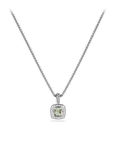Petite Albion Pendant with Prasiolite and Diamonds on Chain