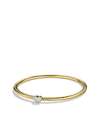 Pave Diamond Cable Heart Bangle