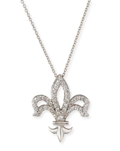 Fleur-de-lis Diamond Pendant Necklace