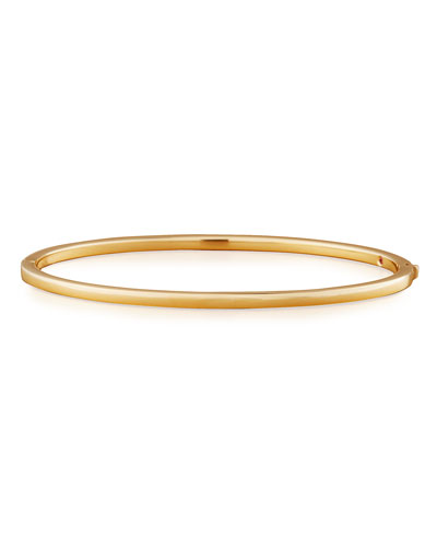 18k Gold Thin Oval Bangle