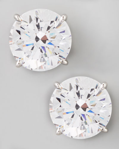 Round Cubic Zirconia Stud Earrings, 9mm