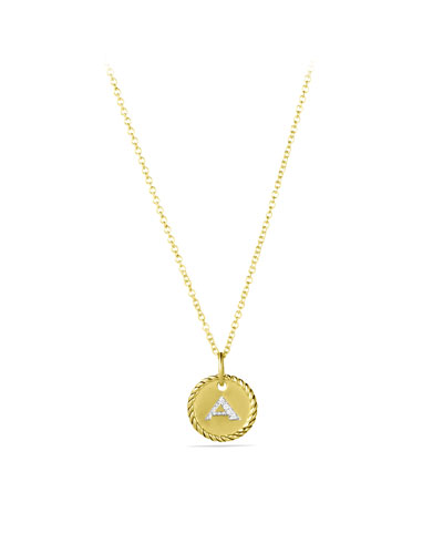 DAVID YURMAN Cable Collectibles Initial Pendant With Diamonds In Gold On Chain, 16-18 in 88Adi