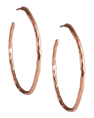 Rose Hammered Hoop Earrings