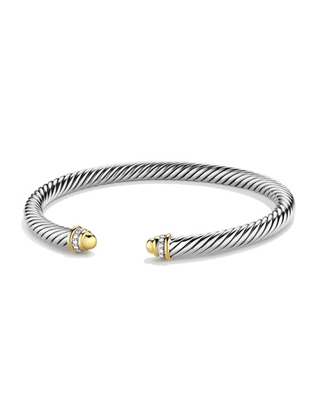 David Yurman Cable Classics Bracelet with Gold Domes and Diamonds