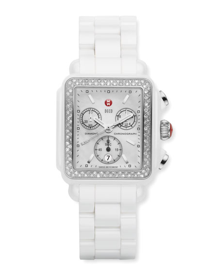 Michele Watches Ceramic Deco Diamond Watch, White