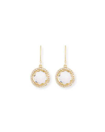 Mini Lollipop Diamond Earrings, Clear Quartz