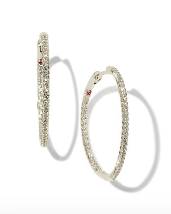 White Diamond Hoop Earrings
