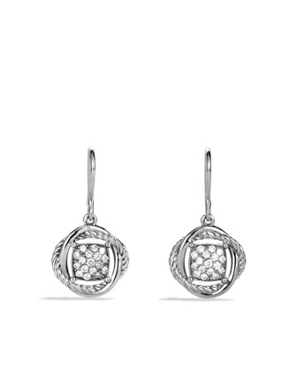 7mm Pave Diamond Infinity Drop Earrings