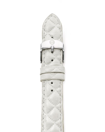 18mm Quilted Strap, White