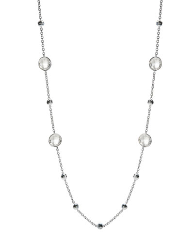 Rock Candy Silver Lollipop Ball & Stone Station Necklace in Clear Quartz, 38