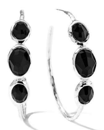 Onyx Hoop Earrings, Medium