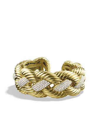 Woven Cable Cuff, Pave Diamond, 26mm