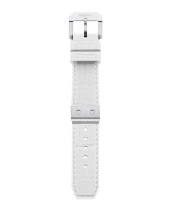 White Silver Rubber Strap, 22mm