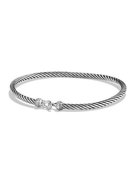 David Yurman 3mm Cable Buckle Bracelet with Diamonds