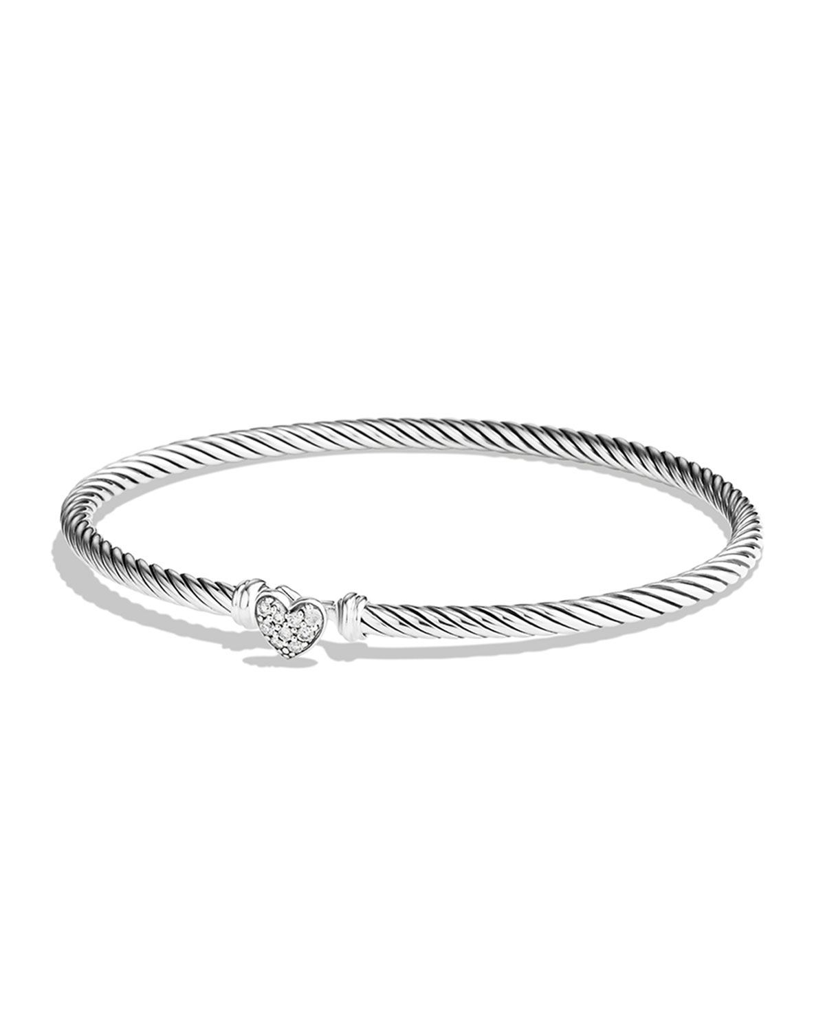 3mm Cable Collectibles Heart Bracelet with Diamonds