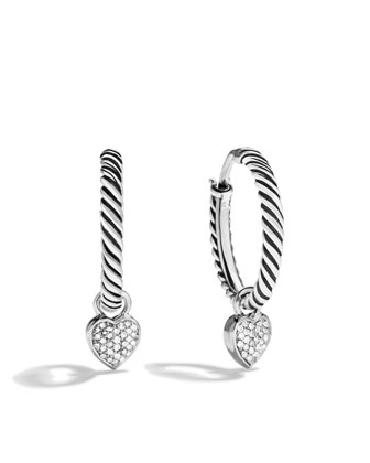 Cable Heart Hoop Earrings, Pave Diamond