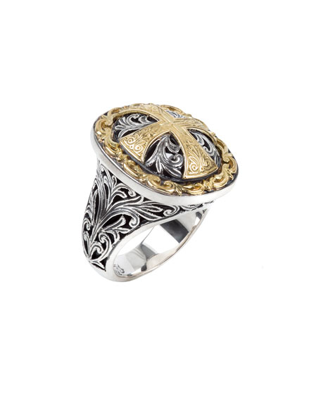 Konstantino Square Cross Ring