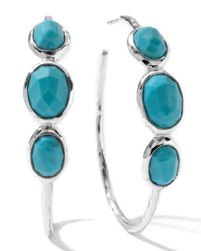 Three-Stone Hoop Earrings