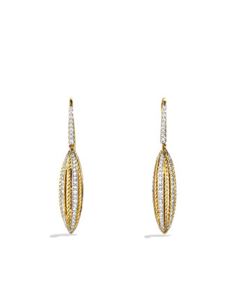 Lantana Drop Earring, Pave Diamond, 24mm