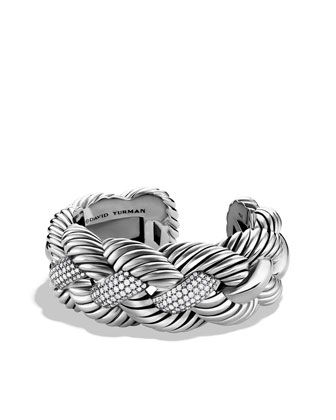 Woven Cable Cuff, Pave Diamond