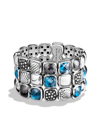 Chiclet Bracelet, Blue Topaz, 3 Rows